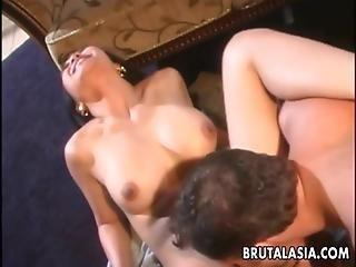 One Busty Brunette Asian Slut Sucking And Fucking