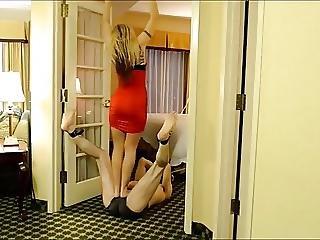 Blond Mistress Ball Trampling A Tied Slave