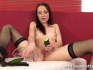Banana Smoothie Inside Her Teen Pussy