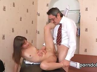 Ravishing Kitten Is Being Seduced By Her Older Instructor To Give A Head And Have Hardcore Sex In The Classroom