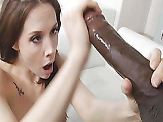 Stunning Dark Haired Beauty Is Getting Her Mouth And Pussy Cute By A Big Black Cock