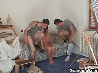 Old Granny And Boys Teen Threesome