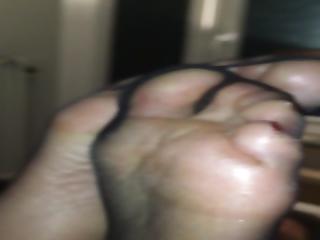 Black Stockings Foot Tease