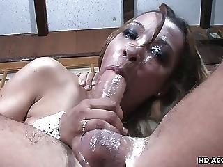Seductive Blonde Bitch Throat Fucked Hard