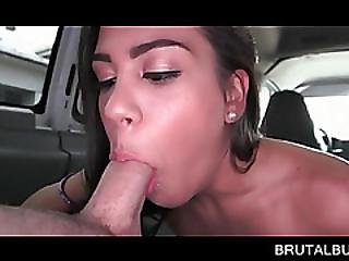Playful Teen Fellating Giant Dick In The Bus