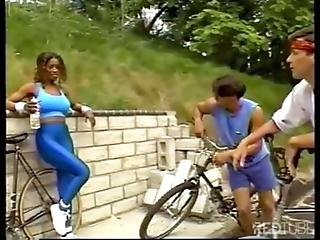 Busty Ebony Takes Two Cocks Vintage