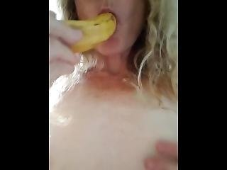 Babe Imagines Banana Is Your Hard Cock For Her To Suck And Swallow!