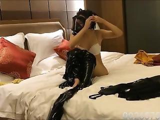 Latex Girl Breathplay And Hardcore Masturbating