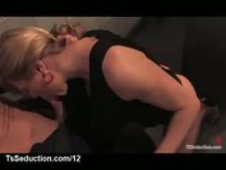 Tranny bounds officer and fucks him in mouth