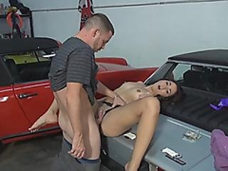 Petite Teen Nailed On Tophood Of A Car For Some Money