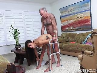 Old Man Banging Young Girl On His Walker