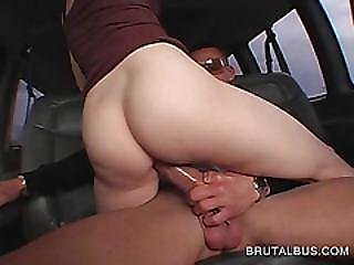 Smiling Blonde Eats And Humps Fat Dick In Bus