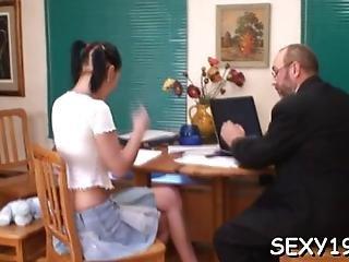Babe Is Letting Her Mature Teacher Taste Her Chaste Twat