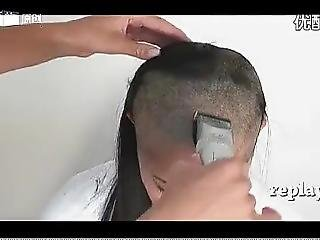 Japanese Sexy Girl With Long Hair Shave Her Head With Razor To Bald