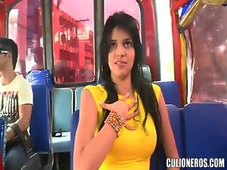 Brunette Teen Carolina Aka Linda Luchy Gets Fucked And Facialed In A Bus