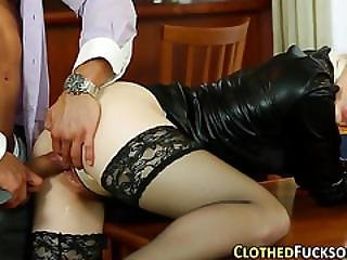 Clothed Fetish Babes Fuck