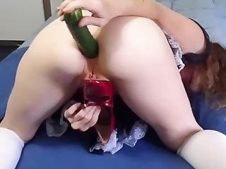 Requested, Naughty Maid Has Too Much Fun With Red Shoes And A Cucumber!!!