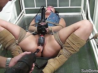European Babe Pounded By Masters Dildo
