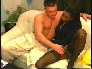French Ebony In A Threesome