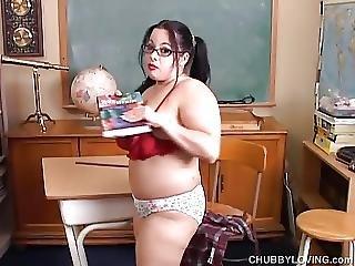 Naughty Bbw Schoolgirl Imagines You Fucking Her Juicy Pussy