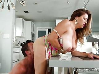Dude Bangs Huge Tits Milf In Kitchen