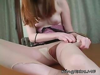 Masturbation, Collants, Bas Collants, Rousse, Embêter, étroite