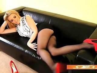Long Legs Big Ass Blonde Secretary Is So Sensual & Erotic In Her Miniskirt!