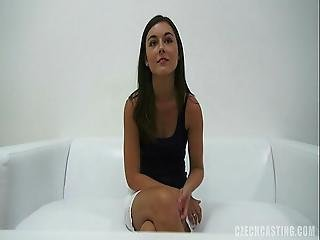 Amazing Brunette Fucks On White Couch