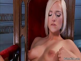 Solo Busty Blonde Hottie Kate England With Long Legs In Armchair Masturbates With Magic Wand Then In Shaved Pussy Shoves Fucking Machine Later Rides Sybian