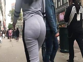 Candid Fat Ass In Grey Leggings Walking