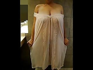A Hot Granny With Big Tits In Nightgown