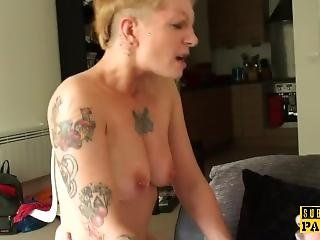 Inked British Sub Throated And Assfucked