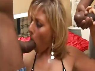 Naughty Cougar Gets Pumped By Two Black Cocks From Both Sides And Begs For More