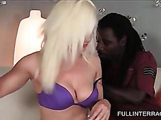 Chesty Blonde Taking Giant Black Dick For A Blow