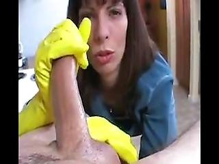 Milf Gives Handjob In Yellow Rubber Gloves