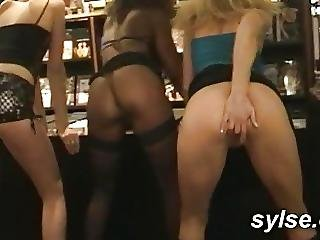 Flashing And Orgy With 3 Milfs In Sexshop