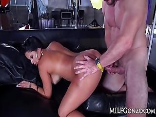anal, rompe, stor pupp, blowjob, brunette, brystet, gonzo, milf