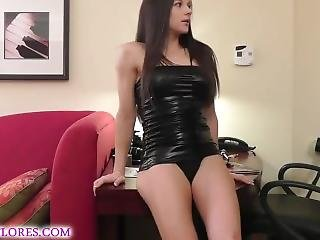 Girl In Latex Dress Gets Bound And Fucked