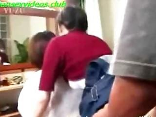 Asian Milf Is Fucked By Her Husband While She Combs Her Innocent Daughters