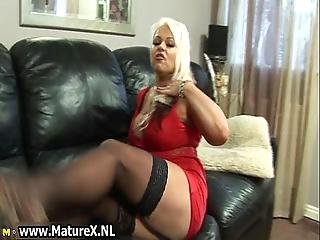 Thick Blonde Mom In Sexy Black Stockings