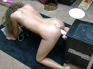 Hot Brunette Fucks Huge Dildo Doggystyle On Her Knees