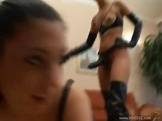 Guy With Big Cock And Girl In High Boots With Big Strapon Take Slave Girl