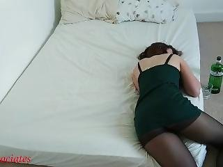 Drunk Sleeping College Roommate Was Fucked Through Tights