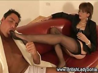 British Matron Gets Toes Licked