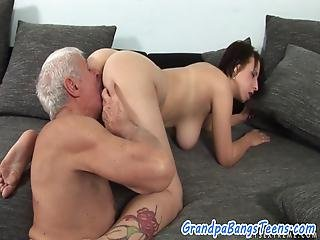 Pussy Licked Euro Teen Doggy Styled By Old Man