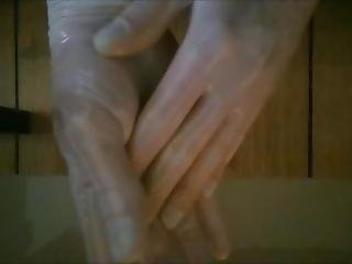 Tight Transparent Latex Gloves + Oil / Wet Look