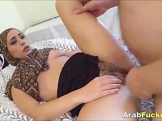 Poor Arabian Girl Desperate For Cash Sucks & Fucks Huge White Dick