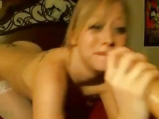 Hot Blonde Deepthroats And Gags On A Dildo