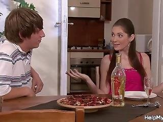 His Young Wife Sucks And Rides Pizza-guy Cock
