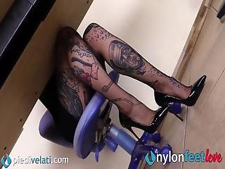 Your New Tattoed Secretary Is Hot As Hell In Her Black Rht Pantyhose: She Lets You Crawl Under Her Desk To Have A Closer Look At Her Pretty Feet And Legs